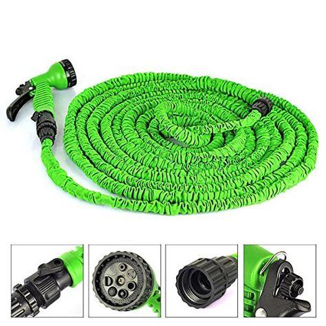 Expanding Hose Green Flexible  75 FT Expandable Garden Water Hose w// Hose Nozzle
