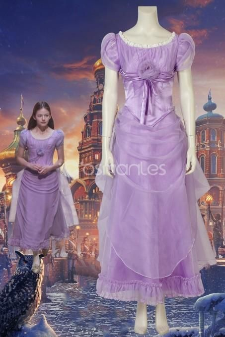 The Nutcracker and the Four Realms Clara Cosplay Costume Purple Dress Outfit