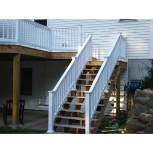 Weatherables Vanderbilt 3 Ft H X 8 Ft W White Vinyl Stair Railing Kit Wwr Thdv36 S8s Stair Railing Kits Stair Railing White Stairs