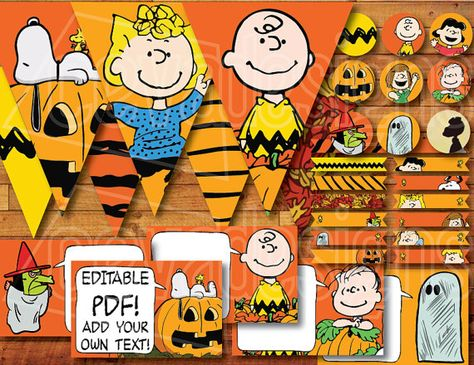 """Printable """" It's the Great Pumpkin, Charlie Brown """" / Peanuts Party Decoration Kit for Snoopy Halloween / Birthday Instant Digital Download"""