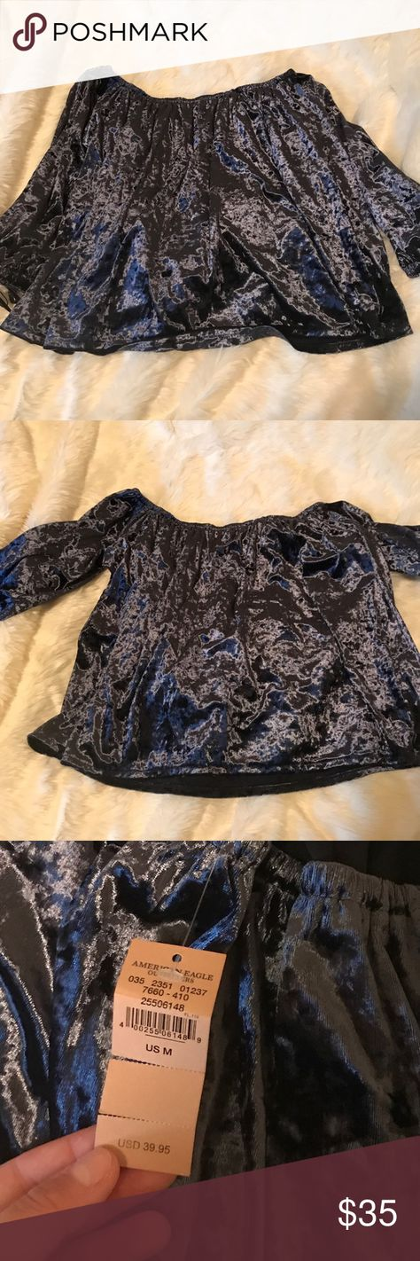 6f50050bc57f82 American Eagle Velvet Top NWT! Blue velvet off the shoulder top American  Eagle Outfitters Tops Blouses