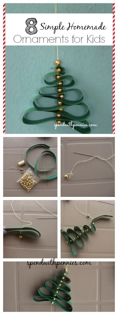 8 Simple Homemade Ornaments for kids!  What better way to keep excited little hands busy!