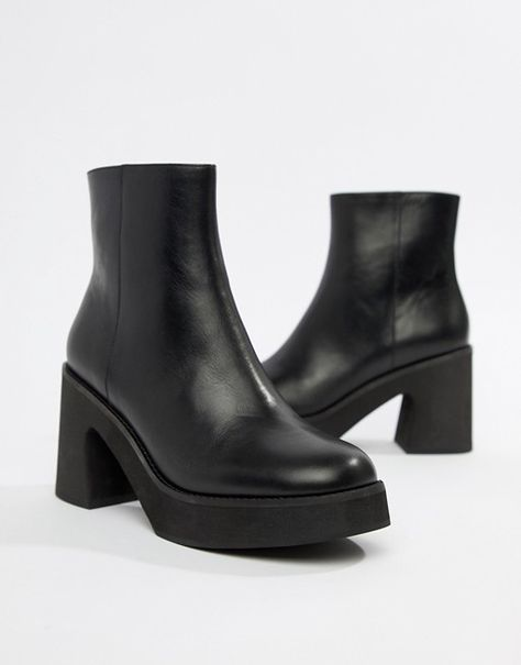 Eeight | E8 By MIISTA black chunky leather heeled ankle