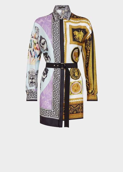 Versace Balletto Cornici Silk Shirt Dress for Women