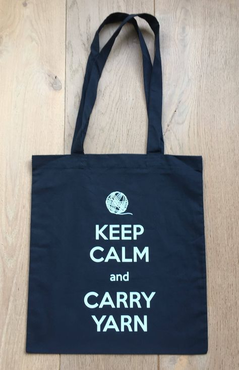Keep Calm and Carry Yarn Natural Cotton Shoulder Bag Purple design