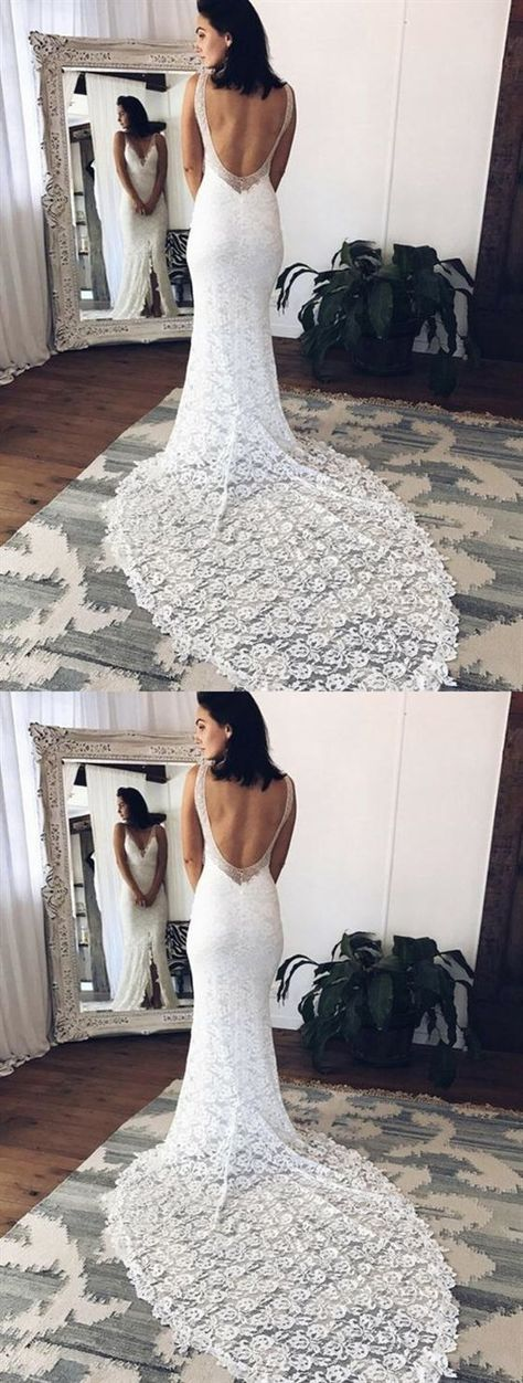 9fd58e66ab75 Mermaid Deep V Neck Sleeveless Open Back Wedding Dresses Bride Gowns  #weddingdress #wedding #