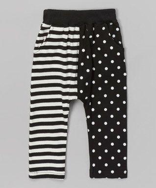 Black Stripe & Polka Dot Harem Pants - Infant, Toddler & Kids