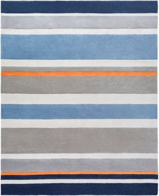 Surya Chic Striped 8 X 10 Handcrafted Area Rug In Blue Yellow
