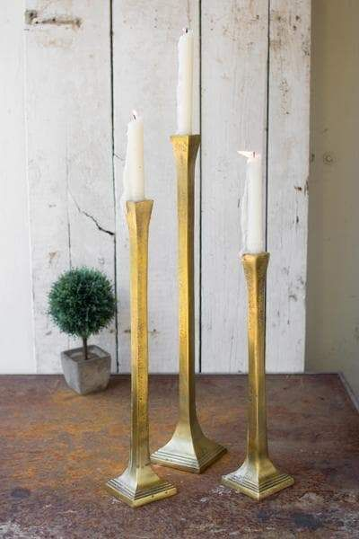 Tall Cast Iron Taper Candle Holders Set Of 3 In 2021 Iron Candle Holders Cast Iron Candle Holder Candle Holders