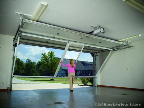 Garage Screen System - Lifestyle Garage Screen Door contains a retractable roll-up passage door