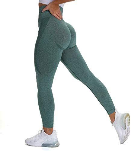 Aoxjox Womens High Waist Workout Gym Smile Contour Seamless Leggings Yoga Pants Tights