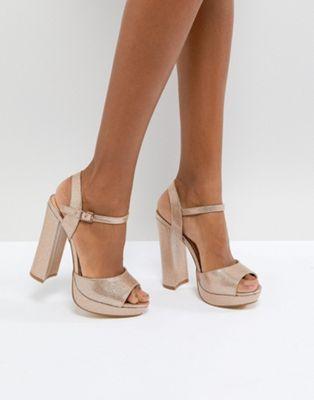 Hunk Rose Gold Sparkle Platform Sandals