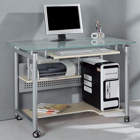 Techni Mobili Rolling Computer Desk Glass And Silver Walmart Com Compact Computer Desk Mobile Computer Desk Metal Computer Desk