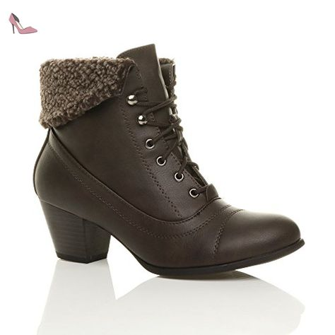 Femmes talon moyen lacer classique col de fourrure hiver bottines pointure  5 38 - Chaussures ajvani ( Partner-Link) d074e4ba9aab