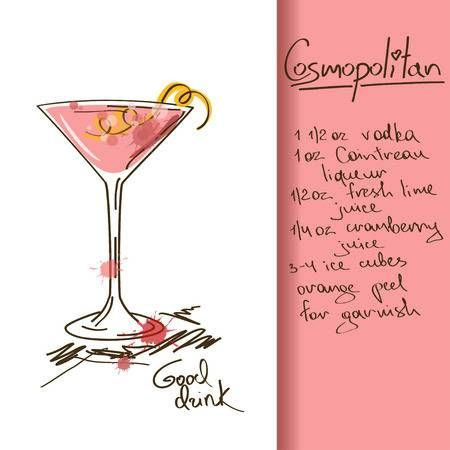 Illustration With Hand Drawn Cosmopolitan Cocktail Cosmopolitan Drink Recipe Mexican Cocktails Cosmopolitan Drink