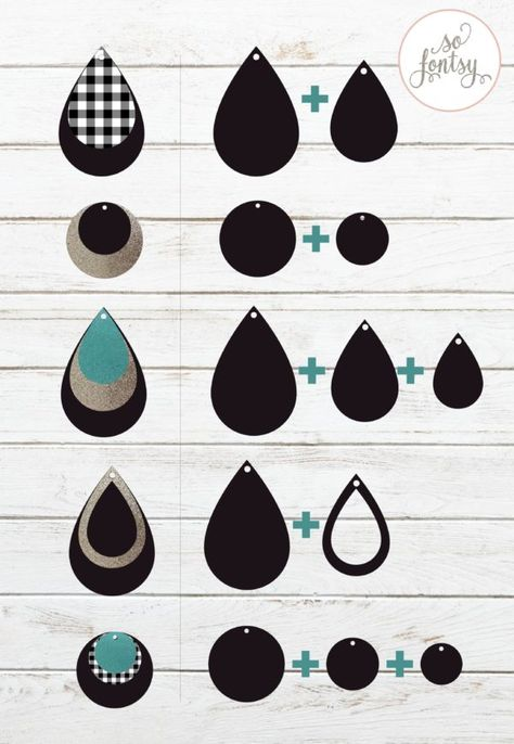 Gorgeous set of earring template SVG designs for Circut and Silhouette. Six earring svg cut files are included in this set along with an earring card design. Diy Leather Earrings, Diy Earrings, Handmade Leather Jewelry, Teardrop Earrings, Custom Jewelry, Homemade Jewelry, Bijoux Diy, Cricut Creations, Leather Projects