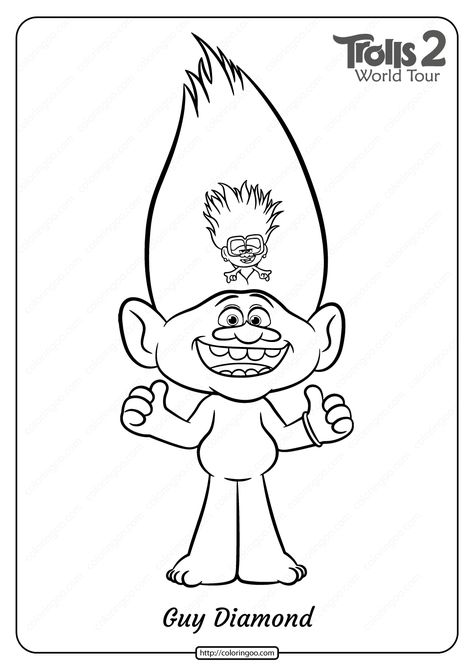 Free Printable Trolls 2 Guy Diamond Coloring Page Cartoon Coloring Pages Coloring Pages Paw Patrol Coloring