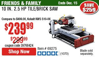 10 In 2 5 Hp Tile Brick Saw Brick Saw Brick Tile Saw