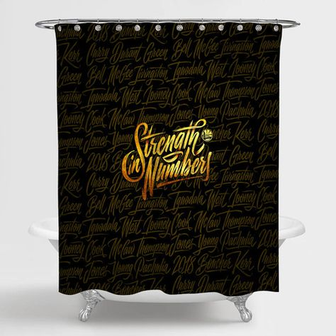 NBA Golden State Warriors Strength In Numbers Shower Curtain 100% Polyester