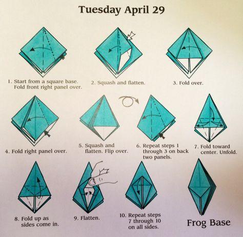 Origami Frog Base Step 1 Paper Folding Pinterest Origami Frog