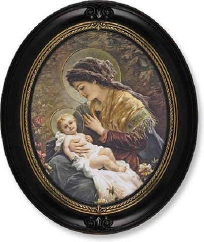 Madonna And Child In Garden Vintage Style Print Walnut Oval Frame