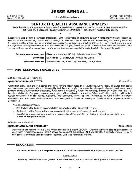 Cv Template Quality Assurance | Project manager resume ...
