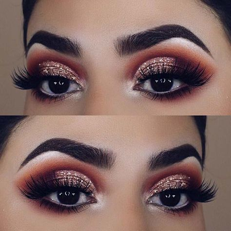 11 Icy Shimmer Next We Have A Makeup Idea That Looks Fit For An Ice Princess The Eyes Featur Smokey Eye For Brown Eyes Glitter Eye Makeup Glitter Smokey Eye