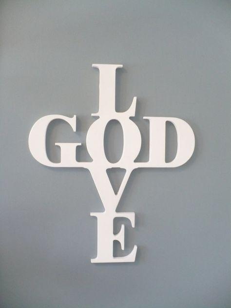 Wooden Cross Wall Decor - Love God Cross - Wooden Wall Sign via Etsy