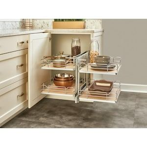 Rev A Shelf 32 25 In W X 21 In H 2 Tier Pull Out Metal Soft Close Baskets Organizers Lowes Com Corner Kitchen Cabinet Shelves Rev A Shelf
