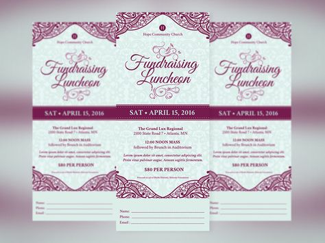 Love awesome design? Feast your eyes on Fundraising #Luncheon - fundraiser ticket template