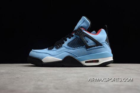 597fc7d12280ed Air Jordan 4 X Travis Scott Cactus AJ4 Blue Suede Collaboration 308497-406  Men Shoes Discount