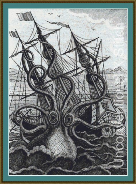 Colossal Octopus The Kraken cross stitch pattern chart - Denys Monfort by UnconventionalX on Etsy