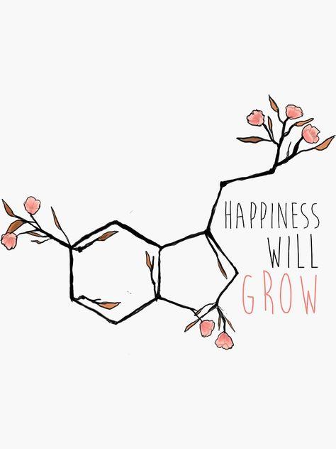 """""""serotonin flowers"""" Sticker by cherubichoney Chemistry Tattoo, Chemistry Art, Science Tattoos, Chemical Tattoo, Serotonin Tattoo, Molecule Tattoo, Tatoos, Cat Tattoos, Tattoo Ideas"""