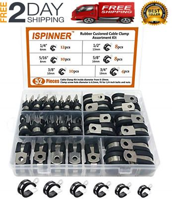 Sponsored Ebay Ispinner 52pcs Cable Clamps Assortment Kit 304 Stainless Steel Rubber Cushion P In 2020 Stainless Steel Cable Rubber Casters Clamps