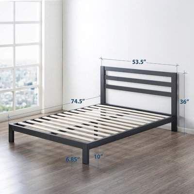 Ivy Bronx Harriett Heavy Duty Metal Platform Bed Frame Wayfair In 2020 Metal Platform Bed Bed Frame Sizes Headboards For Beds