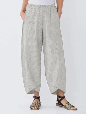 Spu E5ppa4h464a Pattern Type Striped Silhouette Shift Thickness Lightweight Material Cotton Linen Casual Capri Pants Cotton Casual Pants Casual Wide Leg Pants