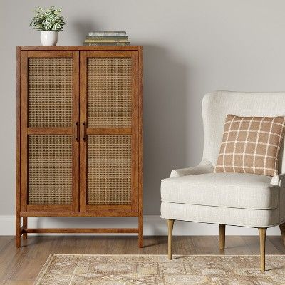 Warwick Wood & Rattan Library Cabinet Brown - Threshold