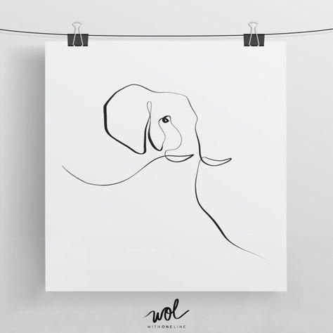 Elefant Drucken Kalligrafie Kunst Mit One Line Limited Edition