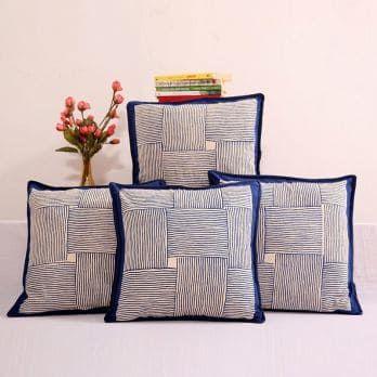 Indigo Haze Cushion Cover Set Of 4 Cushions On Sofa Cushion Cover Designs Cushion Covers Online