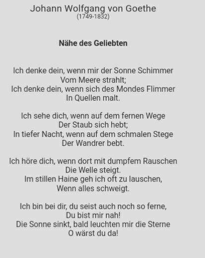 Nähe Des Geliebten 1795 Gedichte Liebe Zitate Und Gedichte