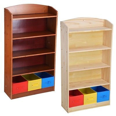 5 Shelf Wood Bookcase Book Bookshelf Unit With 3 Bins Organizer Toy Storage Box Toy Storage Shelves Shelves Rustic Wood Floating Shelves