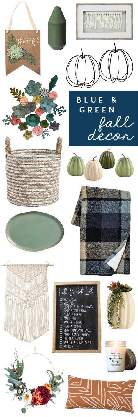 Best blue and green fall decor | #falldecor #holidaydecorating #blueandgreen #modernfarmhouse #seasonaldecor #uglyducklinghouse