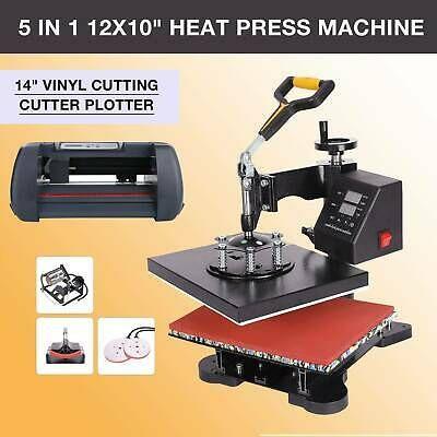 14 Vinyl Cutter Plotter Printer Sublimation Heat Press Machine 12x10 5 In 1 In 2020 Heat Press Machine Press Machine Vinyl Cutter