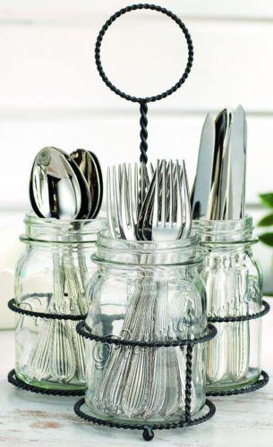 Jarra Mason Nova Cozinha Talheres Caddy Suporte para armazenamento de cutelaria Talheres Organizador | Casa e jardim, Cozinha, copa e bar, Talheres, facas e cutelaria | eBay!