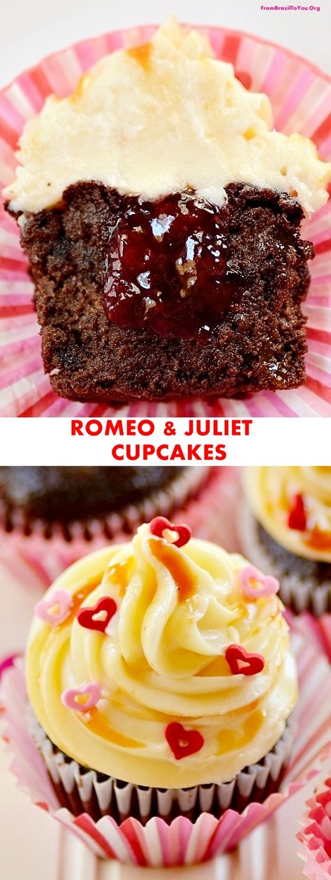 Decadent and moist chocolate cupcakes with cream cheese frosting and guava/strawberry swirl... So good!!! It's love at first bite-- with a happy ending! #cupcake #chocolate #valentinesday #creamcheese #dessert #guava
