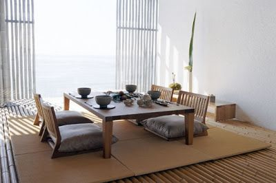 Japanese Dining Area With Western Inspired Seating Floor