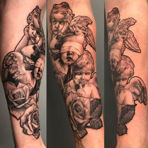 Tattoo uploaded by Jordan @ Carousel Tattoo | Hear no evil, see no evil, speak no evil. @jordancambellart #3rl #finelinetattoo #realistictattoo #cherub | 1261296 | Tattoodo