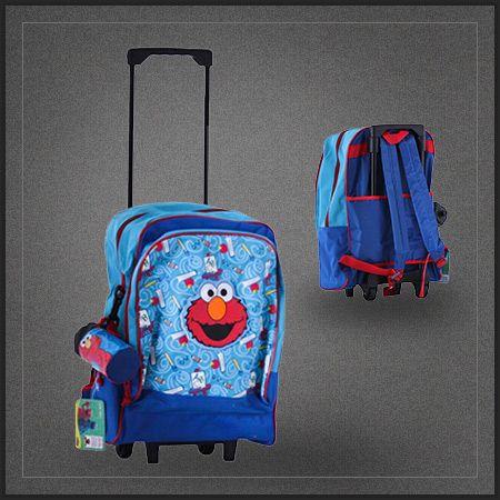 Sac à dos à roulettes Elmo de la Rue Sésame. Un très chouette trolley cartable à roulettes à l'effigie de la marionnette rouge de Sesame Street.