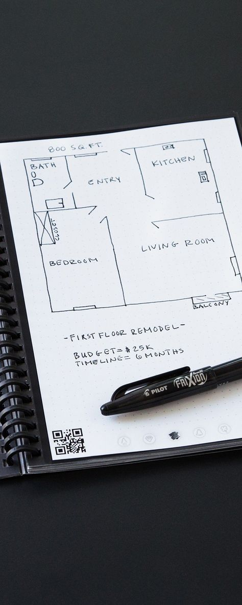 Rocketbook's reusable notebook, discovered by The Grommet, is both physical and digital. Scan pages to the cloud with the app, then erase in the microwave.