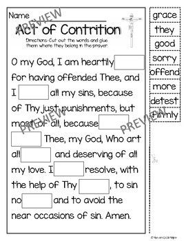 photo relating to Act of Contrition Prayer Printable titled Pin upon Ccd